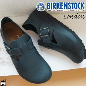 ビルケンシュトック BIRKENSTOCK ロンドン London メンズ レディース コンフォートシューズ 本革 レザー ナロー幅 ブルー Blue 166553|smw