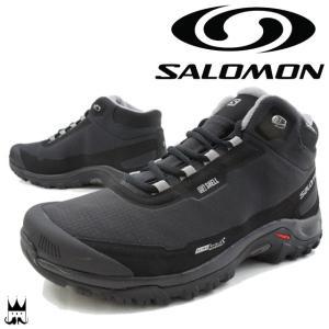 サロモン SALOMON メンズ トレッキングシューズ ミッドカット トレイルランニング ウォータープルーフ 防水 ブラック/ブラック/ピューター 372811|smw