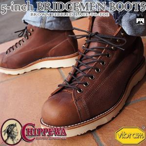 チペワ CHIPPEWAメンズ ブーツ 1901G37 5'BROWN PEBBLED LACE-TO-TOE BRIDGEMEN 5インチブーツ レースアップ ショートブーツ ショート丈 本革 レザー|smw