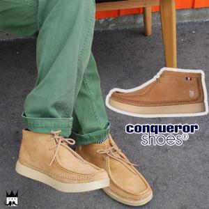 コンカラー conquerorクラウン メンズ CROWN デザートブーツ ミッドカット トープ ブラウン|smw