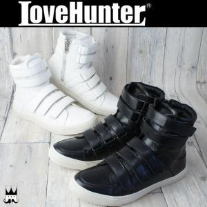 ラブハンター LOVE HUNTER 靴 メンズ スニーカー 1877 サイドジップ ベルクロ ハイカットスニーカー カジュアルシューズ メンナク系 お兄系|smw