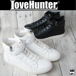 ラブハンター LOVE HUNTER 靴 メンズ スニーカー 1876 飾りバックジップベルクロハイカットスニーカー メンナク系 お兄系 フェイクファスナー|smw