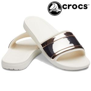 クロックス crocs サンダル レディース 205358 スローン メタルブロック スライド シャワーサンダル シャワサン ペタンコ底|smw