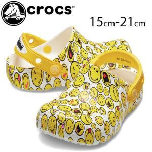 クロックス crocs クロッグサンダル 男の子 女の子 子供靴 キッズ ジュニア 205767 ファン ラブ スマイリー クロッグ k コンフォートサンダル マルチ|smw