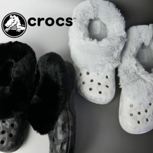 クロックス crocs クロッグサンダル レディース 205921 クラシック マンモス リュクス メタリック c ファーサンダル エコファー コンフォートサンダル|smw