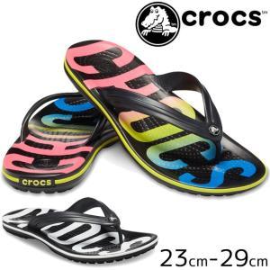 クロックス crocs サンダル メンズ レディース 205943 クロックバンド プリンテッド フリップ ビーチサンダル ビーサン コンフォートサンダル|smw