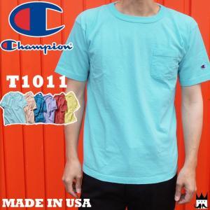 チャンピオン Champion メンズ Tシャツ C5-M304 T1011 ティーテンイレブン ポケット付き 18SS MADE IN USA ショートスリーブ クルーネック ラウンドネック 半袖|smw
