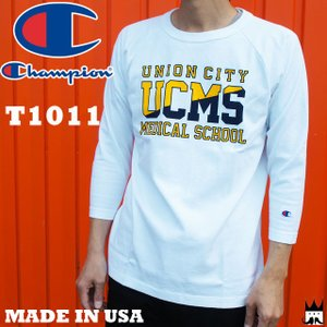 チャンピオン Champion メンズ Tシャツ C5-M401 T1011 ティーテンイレブン ラグラン 3/4スリーブ 7分袖 18SS MADE IN USA クルーネック ラウンドネック 丸首|smw