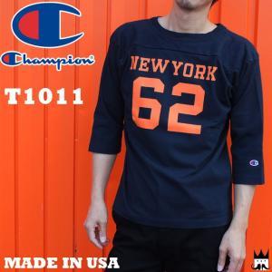 チャンピオン Champion メンズ Tシャツ C5-M402 T1011 ティーテンイレブン ラグラン 3/4スリーブ フットボールTシャツ 7分袖 18SS MADE IN USA|smw