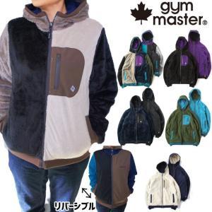 ジムマスター gymmaster リバーシブル ボアxタスロンフードジャケット メンズ レディース G802365 アウター トップス 防風 上着 長袖 ブラック smw
