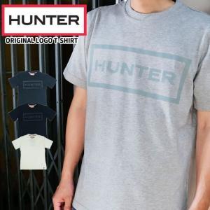 ハンター HUNTER オリジナル ロゴ Tシャツ メンズ MRJ4067JAS 半袖 トップス カットソー 綿 コットン100% ラウンドネック 丸首 ブラック ホワイト ネイビー|smw