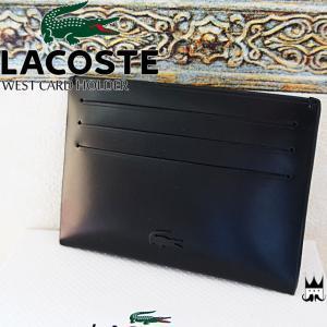 ラコステ LACOSTEメンズ レディース 小物 NH1616 カードホルダー カードケース レザー ICカード クレジットカード 名刺入れ 黒 牛革|smw