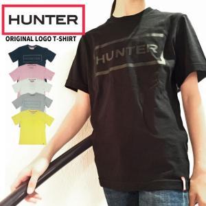 ハンター HUNTER オリジナル ロゴ Tシャツ レディース WRJ1075JAS 半袖 トップス カットソー 綿 コットン100% ラウンドネック 丸首 ブラック ホワイト ネイビー|smw