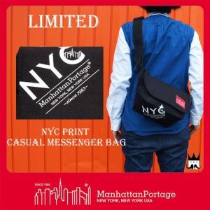 マンハッタンポーテージ Manhattan Portage 靴 メンズ レディース バッグ MP1605-JR-NYC-17AW NYCプリント メッセンジャーバッグ リミテッド ショルダー 黒|smw