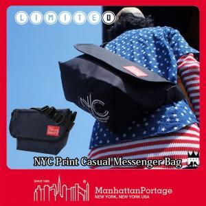 マンハッタンポーテージ Manhattan Portage メンズ レディース バッグ MP1606-JR-NYC-18SS NYCプリント メッセンジャーバッグ ショルダーバッグ 黒 ブラック|smw