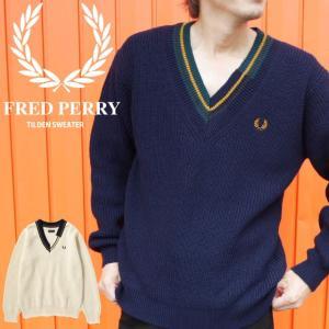 フレッドペリー FRED PERRY チルデンセーター メンズ F3207 アウター トップス 白 紺 ネイビー ホワイト 月桂樹 ローレル|smw
