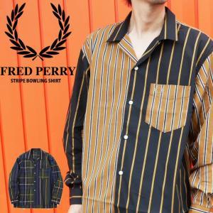 フレッドペリー FRED PERRY ストライプ ボウリングシャツ メンズ F4527 トップス 長袖 コットン100% チェック 月桂樹 ローレル|smw