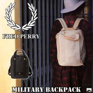 フレッドペリー FRED PERRY メンズ レディース バッグ F9250 ミリタリーバックパック N-1タイプ 2WAY リュック 手持ち 月桂樹 通勤 通学|smw