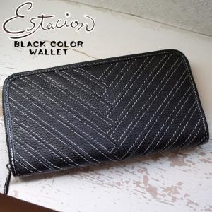 エスタシオン Estacion 長財布 本革 レザー レディース 1035 ラウンドファスナー 財布 ウォレット サイフ 黒 ブラック|smw