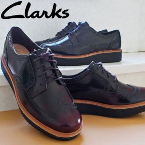 クラークス Clarks オックスフォードシューズ 厚底 本革 レザー レディース 343G プラットフォーム 黒 ブラック ワイン バーガンディ ウィングチップ おじ靴|smw