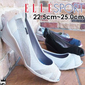 エルスポーツ ELLE SPORT レディース オープントゥパンプス ESP11852 ウェッジソール ラメ スポーティ ブラック ホワイト ネイビー グレー|smw