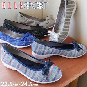エルスポーツ ELLE SPORT フラットシューズ リボン レディース ESP12502 ぺたんこ靴 レース メッシュ|smw