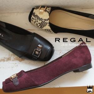 リーガル REGAL レディース フラットシューズ 革靴 レザー F13H ワイズ2E カッターシュ...