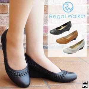 リーガルウォーカー REGAL WALKER レディース パンプス ウェッジソール HB52 ワイズ3E 4E 調節可能 メッシュ ウェッジヒール 黒 ブラック キャメル アイボリー|smw