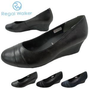 リーガルウォーカー REGAL WALKER ウェッジソール パンプス レディース HB62 ワイズ3E 4E ウェッジヒール 黒 ブラック ネイビー スエード|smw