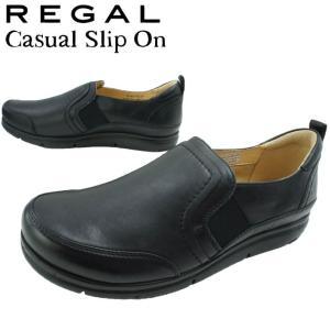 リーガル REGAL スリッポン レディース F27L サイドゴア スニーカー 軽量 ぺたんこ靴 黒 ブラック|smw