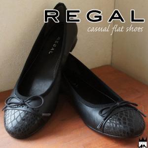 リーガル REGAL レディース フラットシューズ 本革 レザー F37J カッターシューズ 黒 ブラック|smw