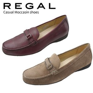 リーガル REGAL モカシン スリッポン 革靴 レザー レディース F72K フラットシューズ ドライビングシューズ ワイン オーク スエード ローヒール 靴|smw