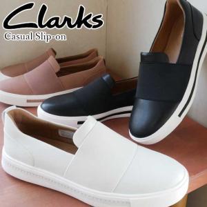 クラークス Clarks スリッポン 革靴 レディース 407G ぺたんこ靴 ゴア 白 ホワイト ピンク 黒 ブラック 靴|smw