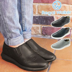 リーガルウォーカー REGAL WALKER スリッポン 本革 レザー レディース HB81 ワイズ3E 4E 調節可能 黒 ブラック ネイビー シルバー|smw