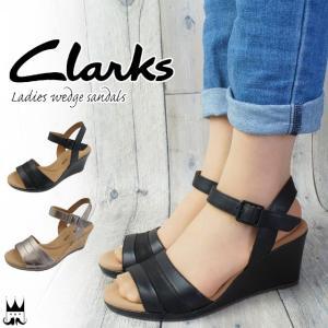 クラークス Clarks レディース ウェッジソール サンダル 厚底 237G 本革 レザー 黒 ブラック メタリック smw
