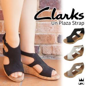 クラークス Clarks レディース ウェッジソール サンダル 厚底 248G 本革 レザー ベルクロ 黒 ブラック 白 ホワイト グレー|smw