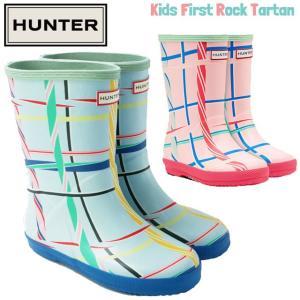 ハンター HUNTER キッズ ファースト ロック タータン 男の子 女の子 子供靴 ジュニア レインブーツ  KFT5028RMA レインシューズ 子供用 長靴 BBE|smw