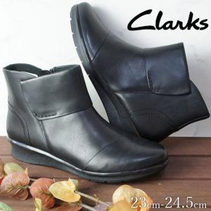クラークス Clarks ショートブーツ 本革 レザー レディース 316G ウェッジソール ウェッジヒール ローヒール 黒 ブラック|smw