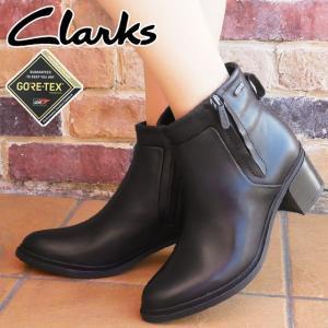 クラークス Clarks ショートブーツ 革靴 ゴアテックス 防水 レザー レディース 327G 太ヒール チャンキーヒール 黒 ブラック レザーブーツ スノーブーツ 大雪|smw