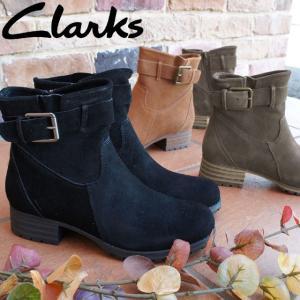 クラークス Clarks ショートブーツ 本革 レディース 337G スエード 黒 ブラック ブラウン グレー ベルト エンジニアブーツ|smw