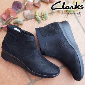 クラークス Clarks ショートブーツ レディース 342G ウェッジソール ウェッジヒール 黒 ブラック|smw