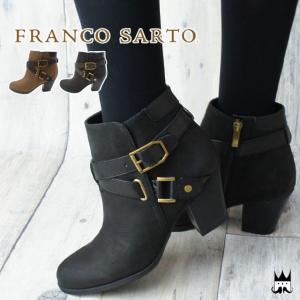 フランコサルト FRANCO SARTO レディース ブーツ D10C ショートブーツ 本革 レザー 本革ブーツ 牛革 ヌバック チャンキーヒール 太ヒール サイドファスナー|smw