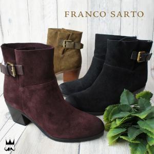 フランコサルト FRANCO SARTO レディース 本革 レザー 本革ブーツ ショートブーツ D24C ベルト付 スエード チャンキーヒール 太ヒール|smw