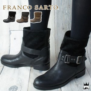 フランコサルト FRANCO SARTO レディース ブーツ D72B ショートブーツ 本革 レザー 本革ブーツ ローヒール 異素材コンビ ファスナー ベルト付 ヒール約3cm|smw