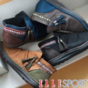 エルスポーツ ELLE SPORT レディース ブーティ ESP11879 ショートブーツ スエード 黒 ブラック ネイビー キャメル グレー タッセル エスニック|smw