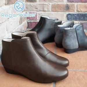 リーガルウォーカー REGAL WALKER ショートブーツ 本革 レザー レディース HB65 黒 ブラック ブラウン グレー バイカラー ローヒール|smw