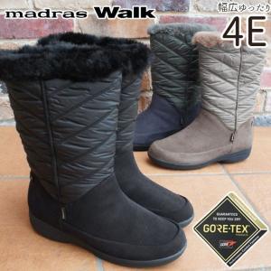 マドラスウォーク madras Walk スノーブーツ 大雪 ゴアテックス レディース MWL2111 防水 4E ロングブーツ 大きいサイズ 黒 ブラック ネイビー オーク|smw