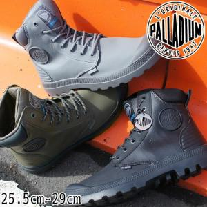 パラディウム PALLADIUM パンパ SC シャドウ ウォータープルーフ ハイカットスニーカー 防水 メンズ 05925 スニーカーブーツ 黒 ブラック オリーブ グレー|smw