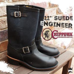 チペワ CHIPPEWAメンズ ブーツ 1901S03 エンジニアブーツ スチールトゥ 11インチ スエードエンジニア ブラック 黒 BLACK ビブラムソール|smw