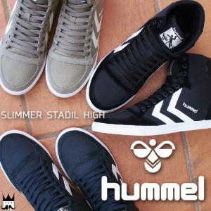 ヒュンメル hummel メンズ レディース ハイカットスニーカー 63-111K 定番 黒 青 グレー SLIMMER STADIL HIGH CANNVAS|smw